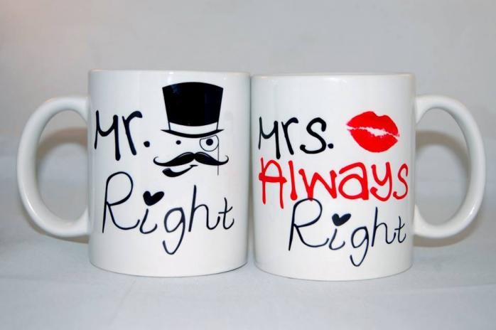 Pamiętaj mężczyzno kobieta ma zawsze rację!  Mr.Right & Mrs.Always Right - kubeczki dla par www.nadruko.pl