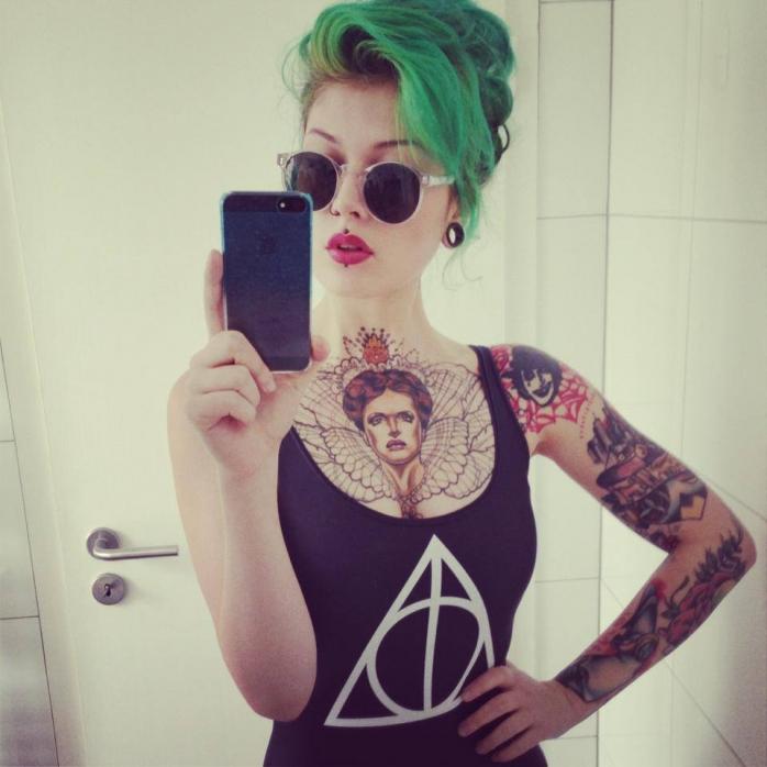 #zielone #włosy #tatuaże